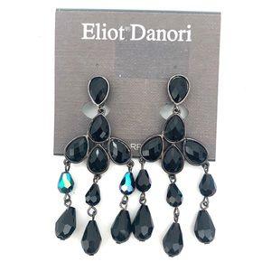 Eliot Danori Black Iridescent Clip Earrings NEW